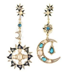 SUN MOON DROP EARRING SET